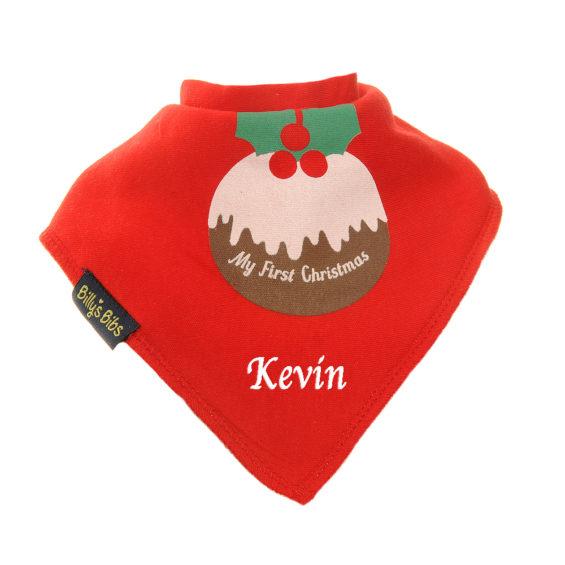 personalised extra absorbent bandana bib christmas pudding