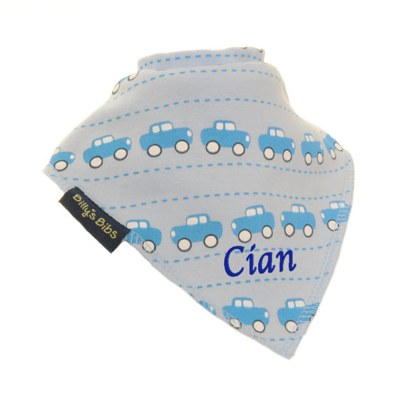 personalised extra absorbent Bandana billy's bibs Dark Blue Cars Grey Blue Cars