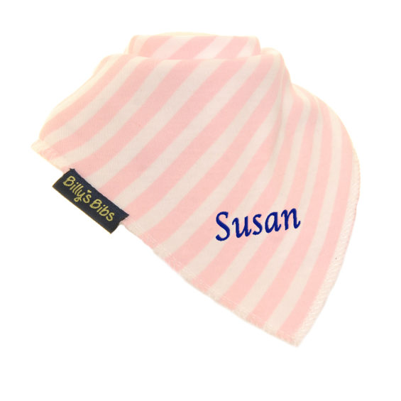 personalised extra absorbent Bandana billy's bibs Light Pink Stripe diagonal navy