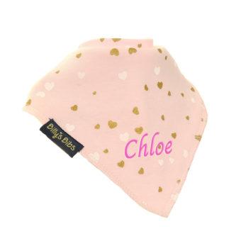 personalised extra absorbent bandana bib Pink Gold Hearts