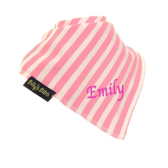 personalised extra absorbent Bandana billy's bibs Pink Stripe diagonal