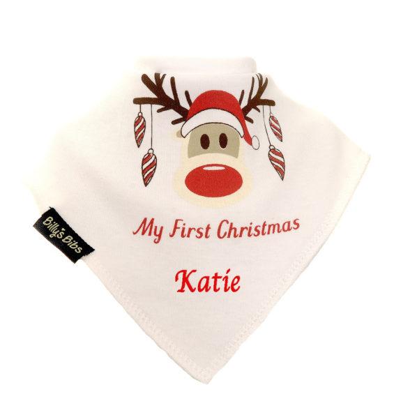 personalised extra absorbent bandana bib Rudolph First Christmas