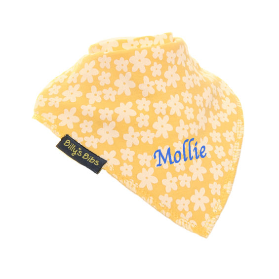 personalised extra absorbent bandana bib Yellow Flowers