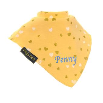personalised extra absorbent bandana bib love heart yellow