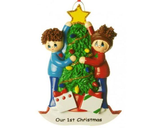 Personalised christmas decoration couple 1st christmas