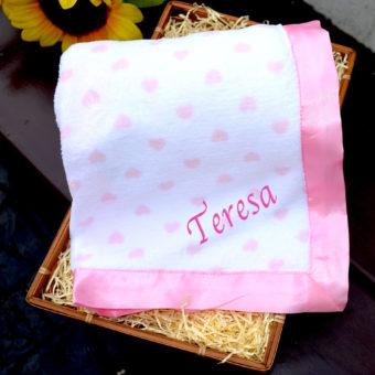 personalised Fleece Love Heart Blanket