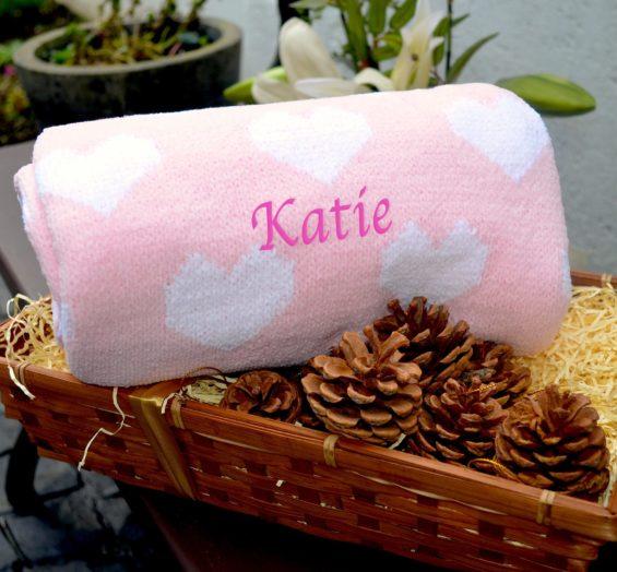 personalised knit love heart blanket