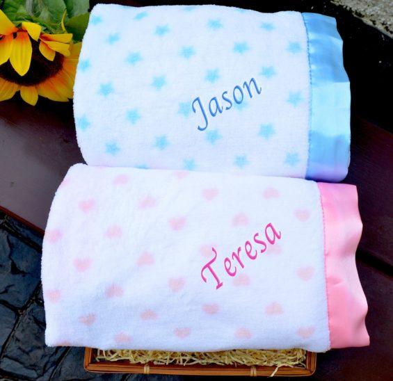 personalised fleece satin trim blanket