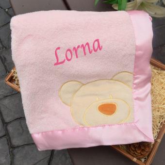 personalised Pink Teddy Blanket