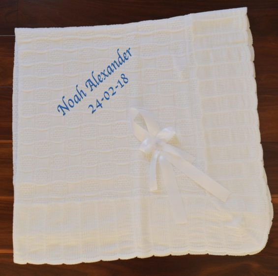 Personalised christening blanket shawl