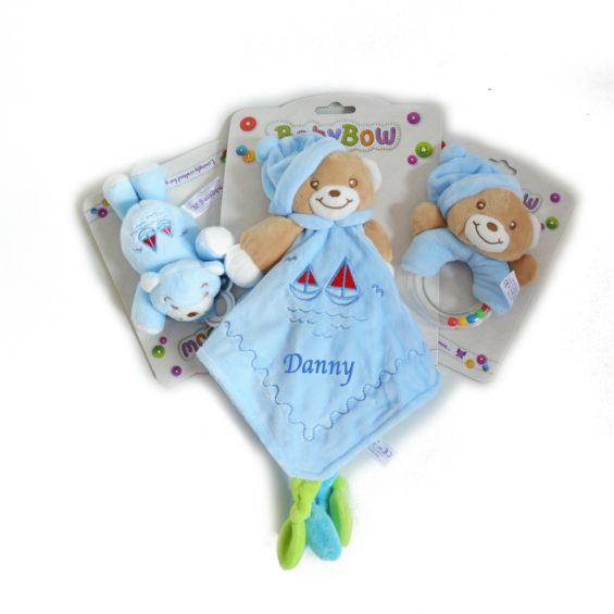 personalised bunny comforter rattle dummy holder