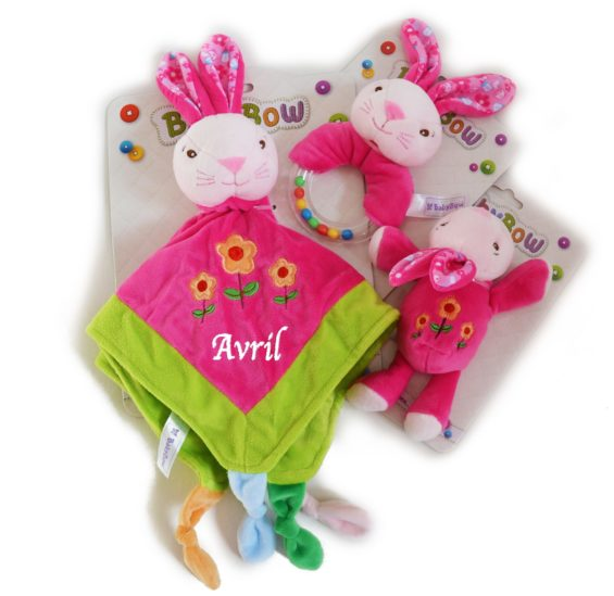personalised bunny comforter rattle dummy holder