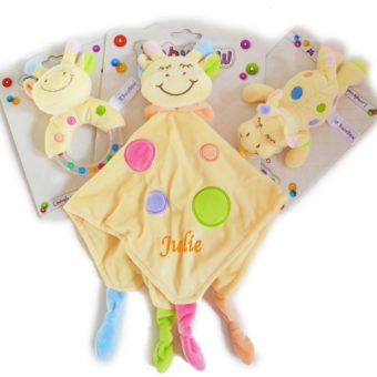 personalised yellow giraffe comforter rattle dummy holder