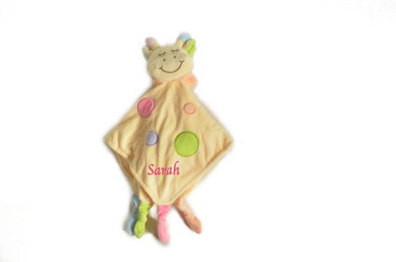 personalised yellow giraffe comforter