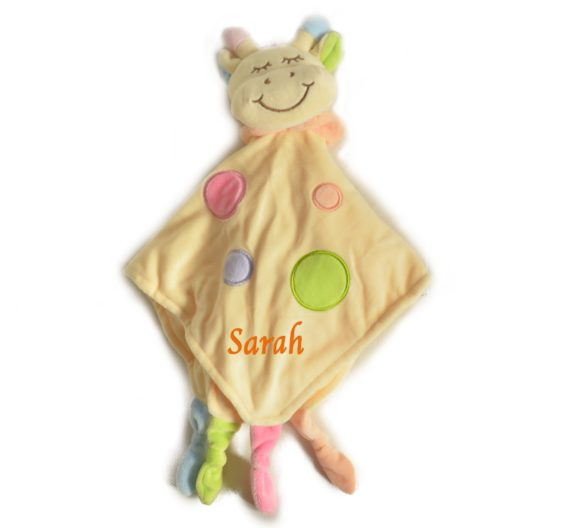 personalised yellow giraffe comforter