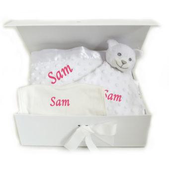 Neutral Hamper personalised bib blanket comforter