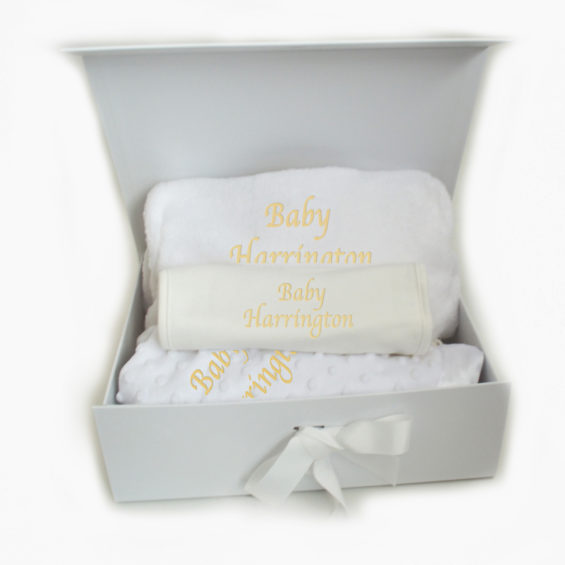 Personalised white neutral baby hamper