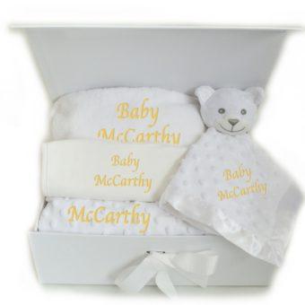Personalised neutral baby hamper blanket bib bathrobe