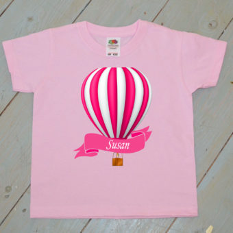 pink hot air balloon kids t shirt