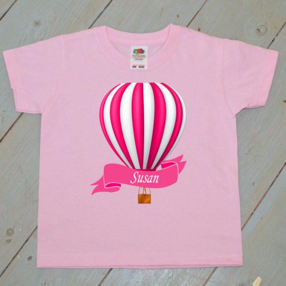 pink hot air balloon kids t shirt