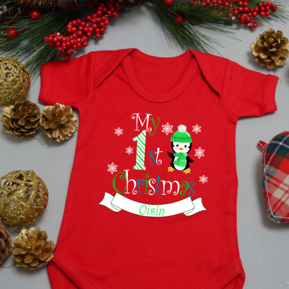 Embroidered Baby/'s 1st Christmas 2018 Gift Cute Reindeer Personalised Baby Bib