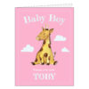 pink personalised baby boy birthday card