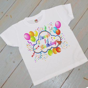 1st birthday colour tshirt