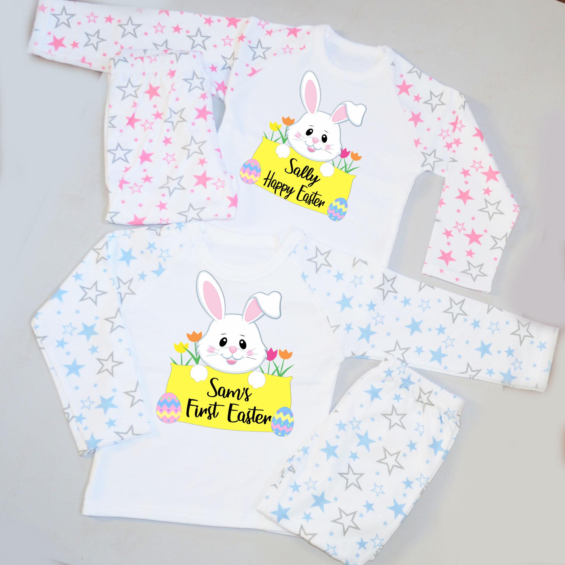 Hut Pj: Personalised Kids Pyjamas-Easter Bunny Holding A Banner