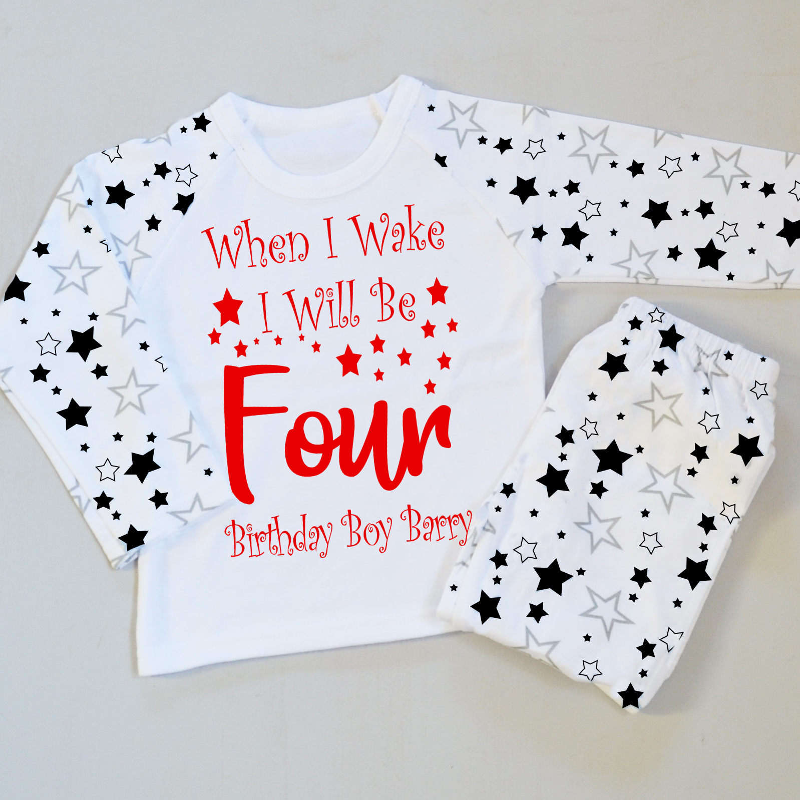 In The Morning I Will Be Birthday pyjamas PJ's  Ages 1,2,3  Personalised Soft